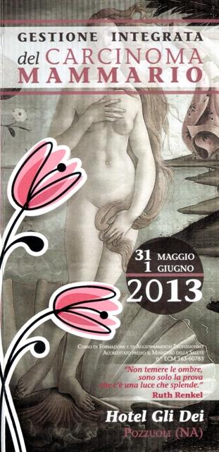 """Congresso medico: """"Gestione integrata del carcinoma mammario"""". 31 maggio - 1° giugno, Pozzuoli (Na)."""